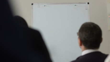 Manager drawing on a board