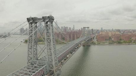 Manhattan Bridge seen closely from the air