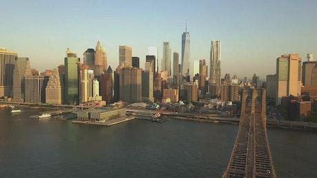 Manhattan Bridge with a USA flag waving