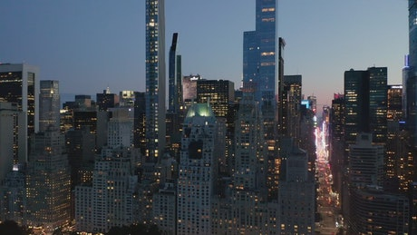 Manhattan buildings and skyscrapers at dusk