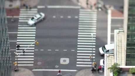 Manhattan crossroad tilt-shift shot