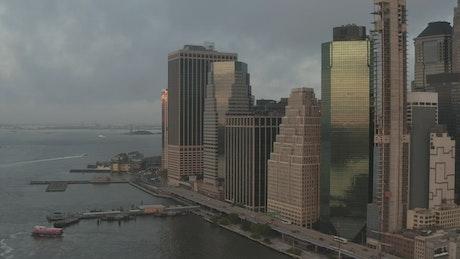 Manhattan waterfront business corporate buildings