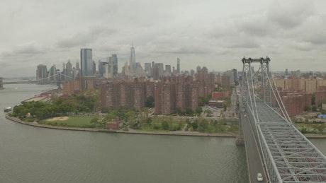 Manhattan's coastline with apartment buildings