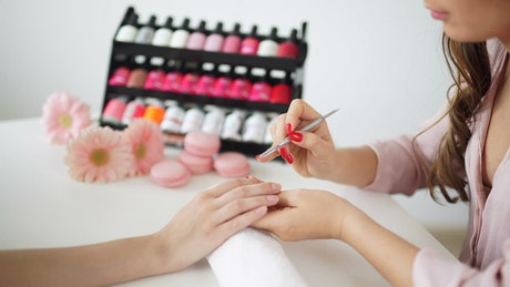 Manicurist working in a beauty salon
