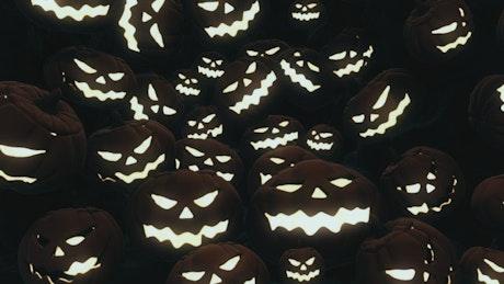 Many Halloween pumpkins lit 3D