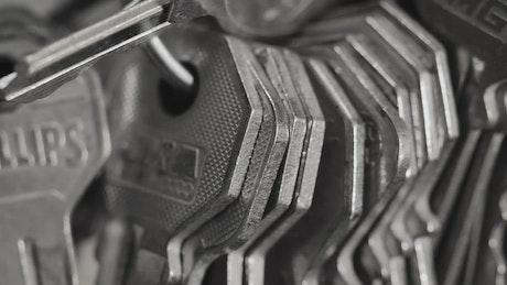 Many metal keys on rings