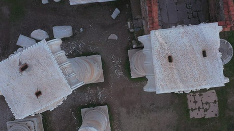 Marble structures in the remains of a temple
