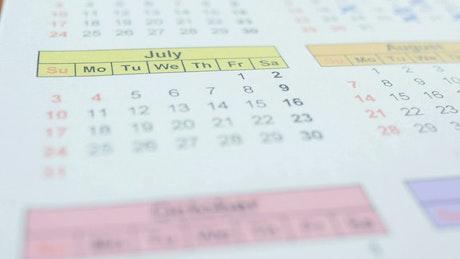Marking a calendar in July