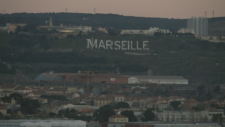 Marseille sign on the hill