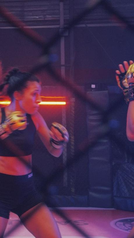 Martial arts combat between two women