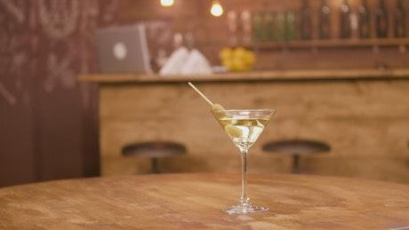 Martini on a bar table
