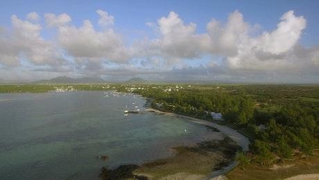 Mauritius coastline with clouds