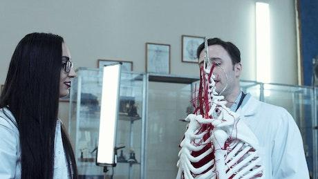 Medical students with dummy skeleton