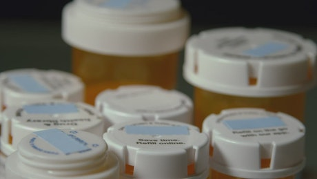 Medication bottles with blank labels