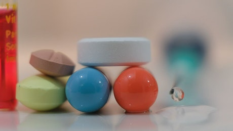 Medicine pills and tablets, close up
