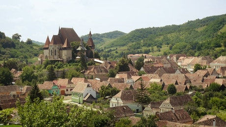 Medieval castle and small ancient town