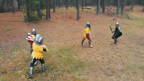 Medieval knights having a training fight