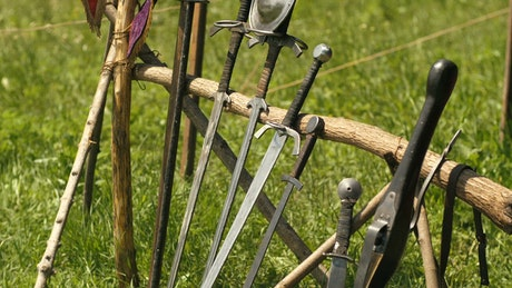 Medieval swords in the grass