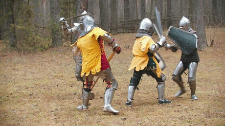 Medieval warriors fighting in a forest