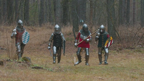 Medieval warriors in armor in a forest