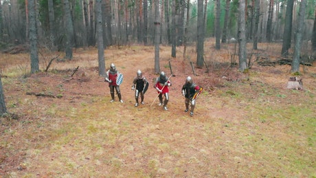 Medieval warriors running in a forest