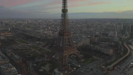 Medium aerial shot of the Eiffel Tower in Paris