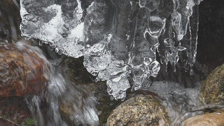 Melting ice and water stream