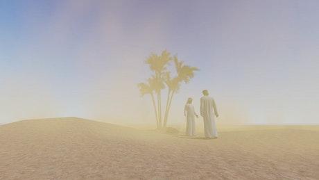 Men in Arab clothing in a sandy desert in 3D