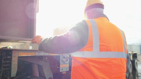 Men loading a freight truck