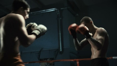 Men practicing boxing on the ring