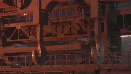 Metal hooks cranes in a factory
