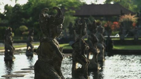 Metal statues in a fountain