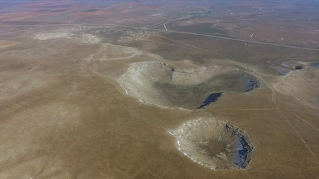 Meteor craters in the earth's surface