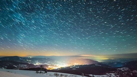 Meteors in Milky Way seen from Carpathian Mountains