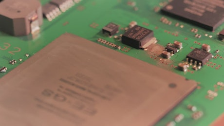 Microchips on a motherboard