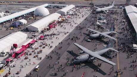 Military aircraft at a festival