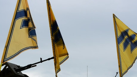 Military flags waving