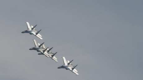 Military jets formation crossing the sky