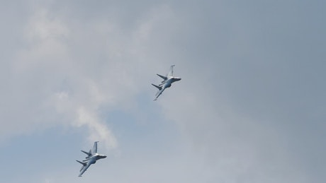 Military jets in slow motion flying  in the sky