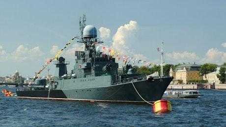 Military ship on the Neva River