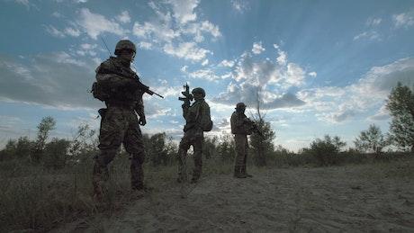 Military troop posing outdoors