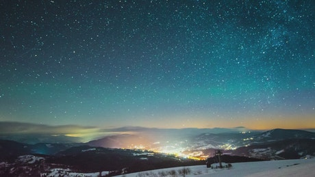 Milky way in the sky, time-lapse