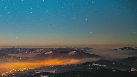 Milky Way over a mountain range