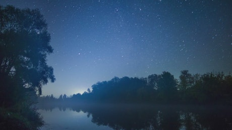 Milky Way seen from a river, landscape