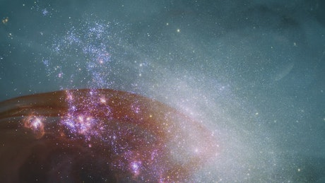 Milky way with liquid abstract video superimposed