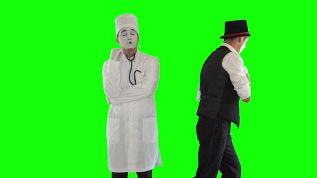 Mimes imitate doctor and sick patient on green screen