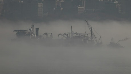 Mist covering ships