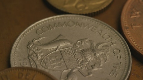 Mix of international coins close up