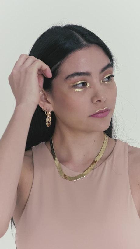 Model girl posing on a white background