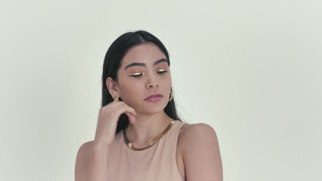 Modeling in a photoshoot on a light background